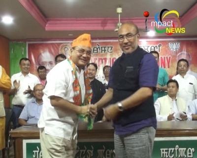 2 Congress MLAs Ksh. Biren and P. Brojen join BJP along with two MPCC office bearers