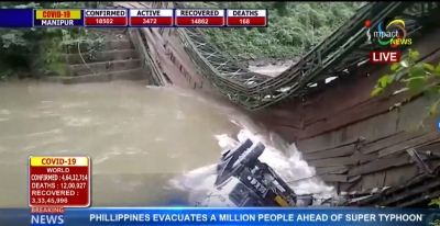 Irang bridge at Taubam in Noney District collapsed with a loaded truck; villagers and CRPF personnel rescue handyman, driver succumbs